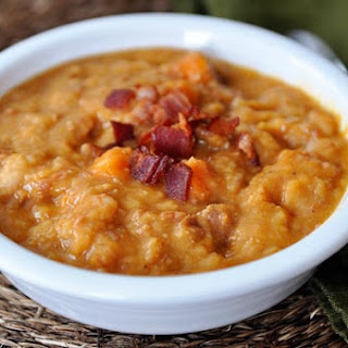 Ham, Sweet Potato and White Bean Soup with Bacon {Slow Cooker}.