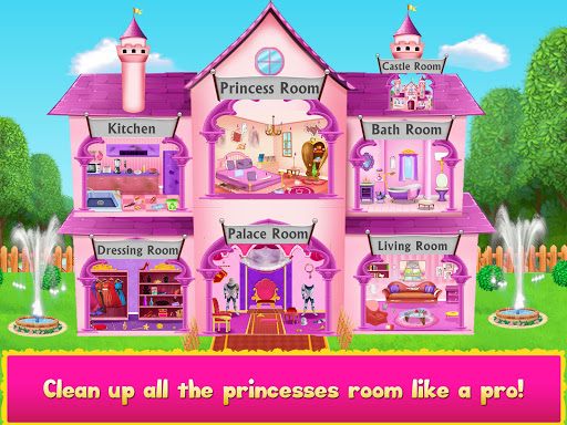 Princess Doll House Cleanup & Decoration Games screenshots 2