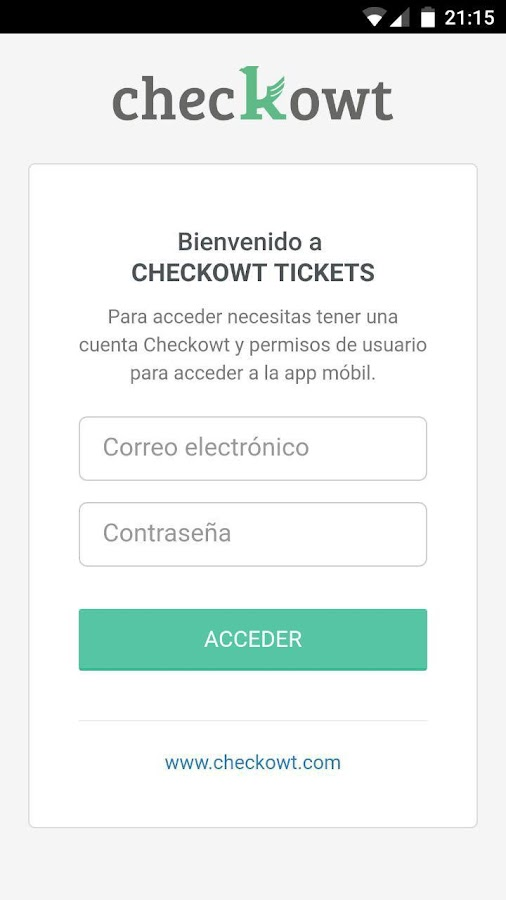 Checkowt Tickets: captura de pantalla