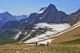 Photo: Down from the pass into Sunrift Gorge with Sexton Glacier in the background.