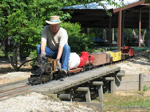Photo: Phillip Bell on his 1.5 inch scale narrow gauge 4.75 inch gauge C&S #22 2-6-0.  HALS-SLWS 2009-0522