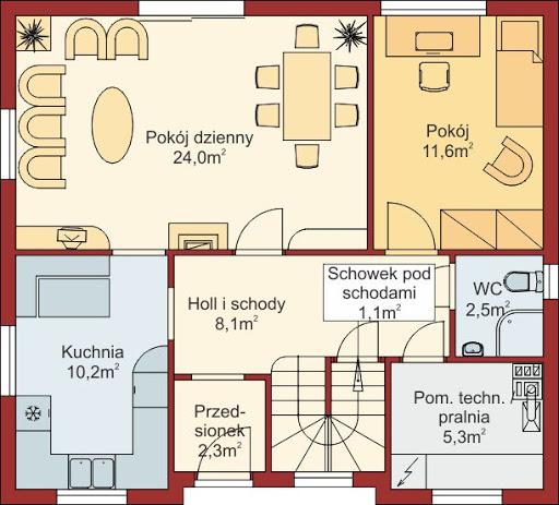 Domek Ciepły 012 BK + Z - Rzut parteru