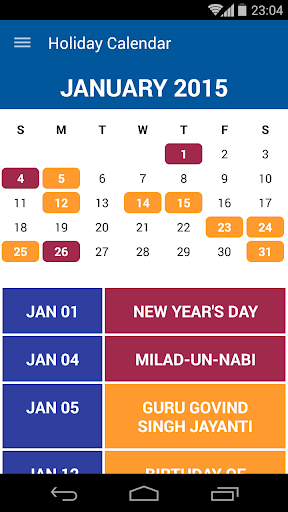 Holiday Calendar - India