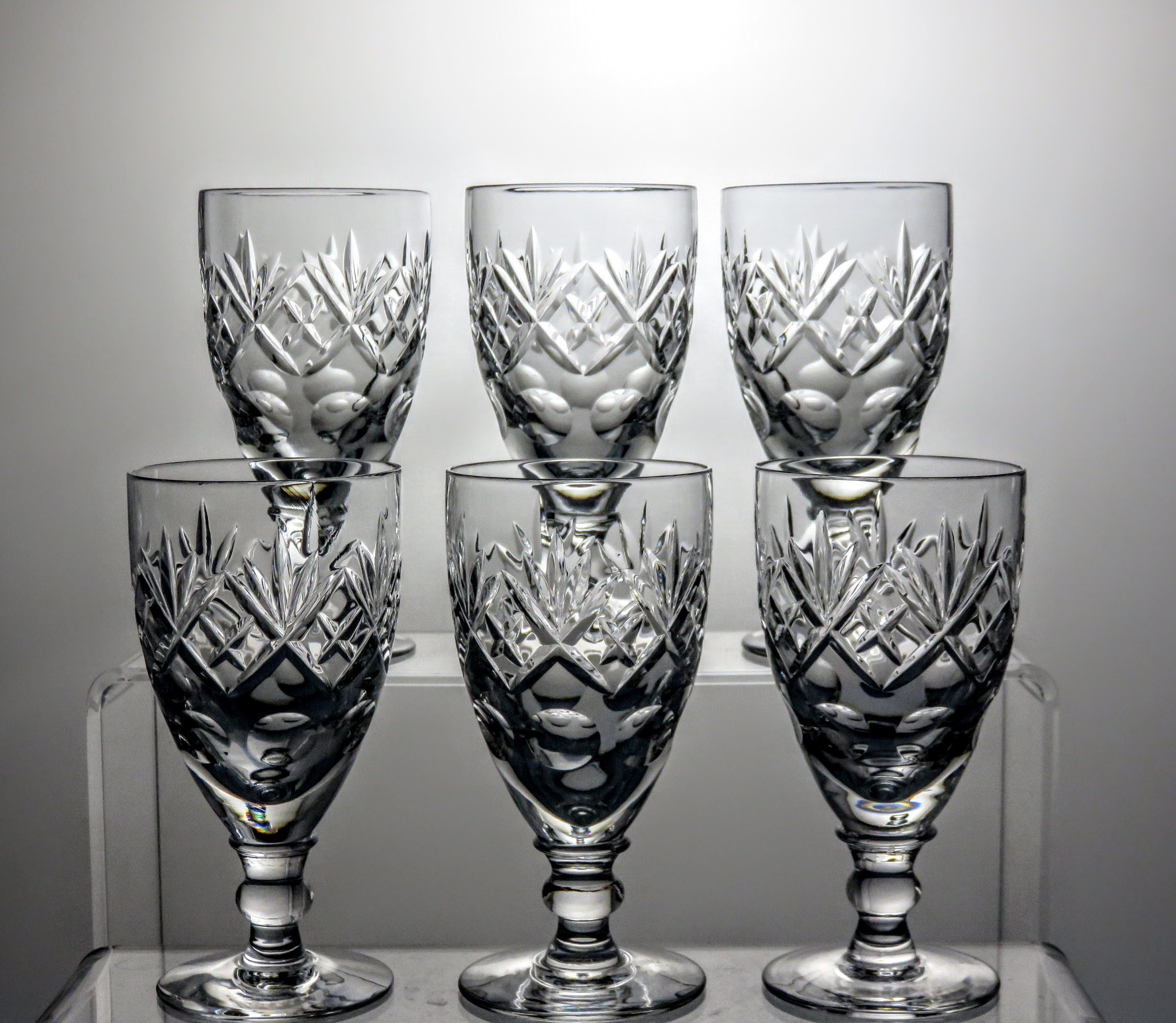 "ROYAL DOULTON CRYSTAL GEORGIAN PATTERN 6½/"" CHAMPAGNE FLUTES GLASSES Ref3989"