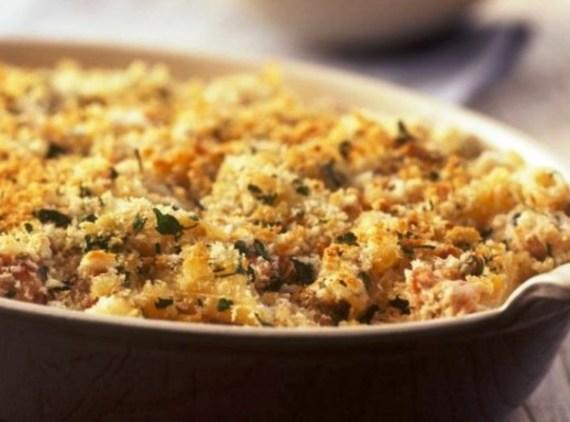 Pour into a individual ramekins and top with breadcrumbs or panko. Bake at 350*...