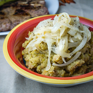 Mashed Plantains with Sauteed Onions.
