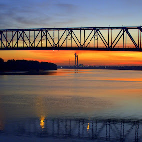 Sun Rise on the Ohio River by Larry Bidwell - Buildings & Architecture Bridges & Suspended Structures (  )