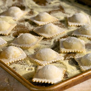 Homemade Ravioli filled with mushrooms, leeks & ricotta.