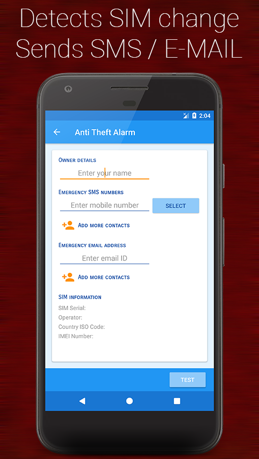 Anti-theft alarm- screenshot