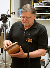 Photo: Dick Webster is donating this textured/pigmented, lidded cherry bowl to Beads of Courage.