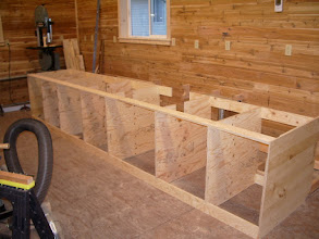Photo: The end pieces are knotty pine plywood and extend all the way to the floor. I assembled the bench as one piece...