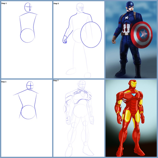 How to Draw Avenger Team Step by Step