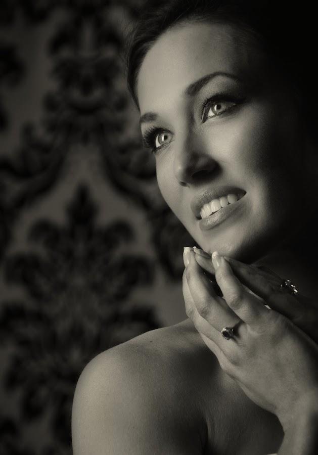 Sparkles by Ron Plasencia - People Fine Art ( monochrome, ron plasencia, smile, pretty, eyes, woman, b&w, portrait, person,  )