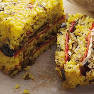 Jane Baxter's saffron risotto cake with grilled veg