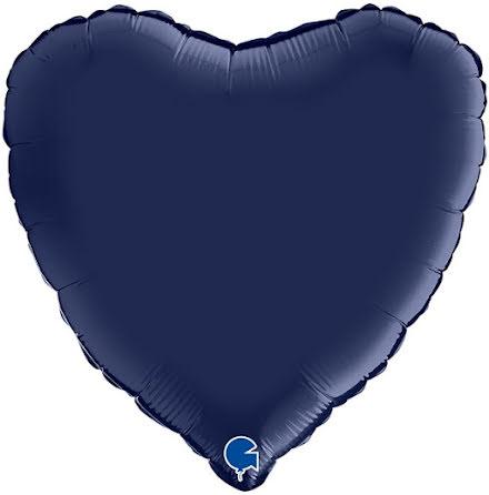 Folieballong Hjärta Satin - blue navy, 46 cm