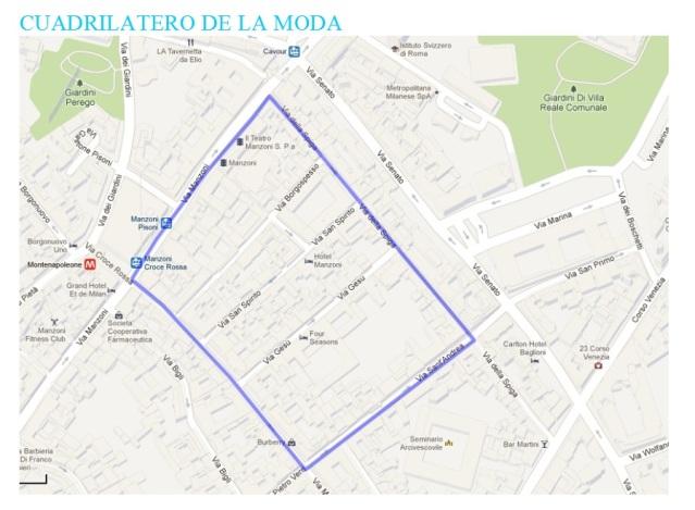 Mapa del cuadrilátero de la moda de Milán