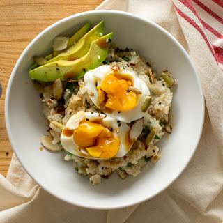 Savory Hot Cereal with Soft-Cooked Eggs.