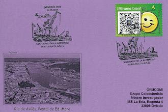 Photo: Tarjeta del matasellos de EXFIAVILES 2015 dedicado al Centenario de la Autoridad Portuaria de Avilés