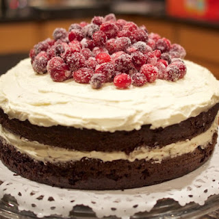 Chocolate Mascarpone Layer Cake with Sugared Cranberries.