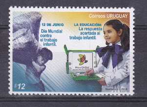 Photo: XO on a stamp at Uruguay.  The XO is really an integral part of society ... and this since 2010!