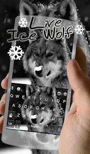 Live Ice Wolf Keyboard Theme - náhled