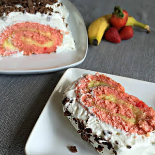 Banana Split Jelly Roll Cake.