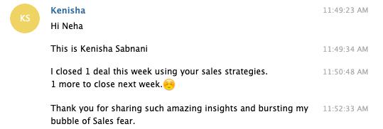 testimonial from Kenisha for the sales dominator