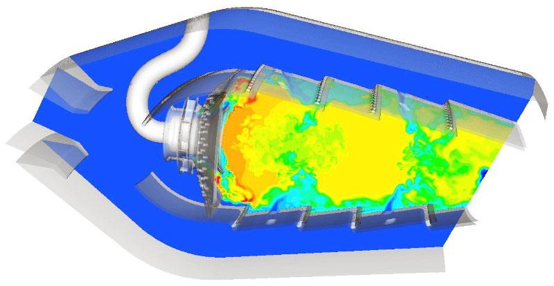 ANSYS Модель камеры сгорания, на 830 миллионов ячеек