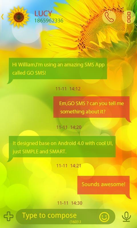 Скриншот GO SMS PRO SUNFLOWER THEME