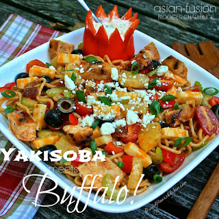 Yakisoba Grilled Buffalo Chicken & Bacon Noodle Salad with Pineapple & Spicy Blue Cheese Crema / JSL Foods & Fortune Blogger Recipe Challenge Part III