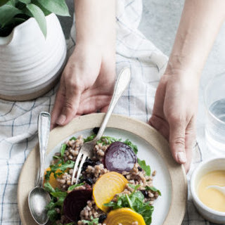 Roasted Beet & Farro Salad with Arugula & Blueberries