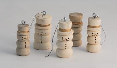 "Photo: Margaret Follas ~2"" x ~1/2"" snowmen ornaments [holly]"