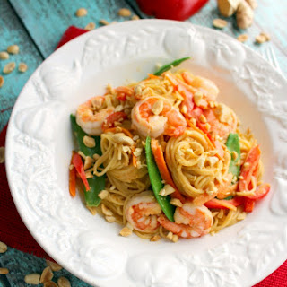 Thai Peanut Pasta with Shrimp - #IHeartDreamfields