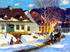 "Photo: Clarence Gagnon, ""Strada del villaggio a Quebec - Inverno"" (1920)"