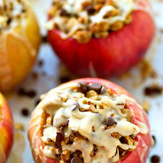 Iced Oatmeal Chocolate Chip Cookie Baked Apples