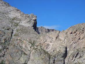 Photo: A close-up of the distinctive notch at the base of Hourglass Ridge on Mount Alice. The route up must cross this area. Photo by Bill Walker