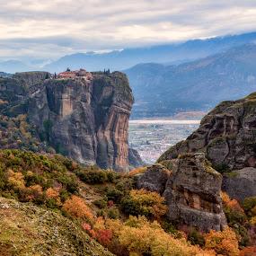 At the edge by Nikos Diavatis - Landscapes Mountains & Hills ( mountains, meteora, monastery, greece )