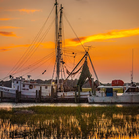 Boats  by Prentiss Findlay - Transportation Boats ( sunset, sunset boats, boats, shrimp boat, sunset boats dock )