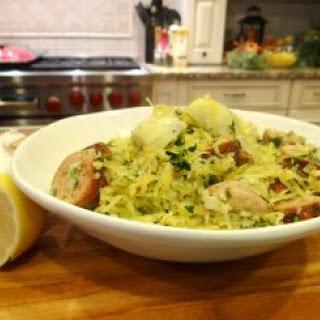 Pesto Pasta with Chicken Sausage and Artichokes