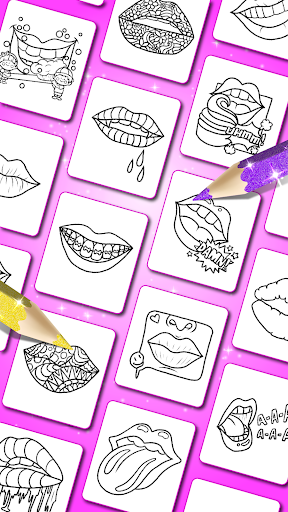 Glitter Lips with Makeup Brush Set coloring Game screenshot 2