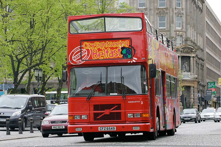A City Sightseeing bus in Belfast, Northern Ireland.