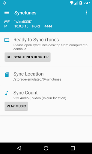 Synctunes: iTunes to android 1.3 screenshots 1
