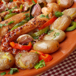 Squid With Potatoes and baked Peppers
