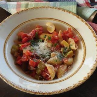 Tomato and Summer Squash Sauce on Pasta.