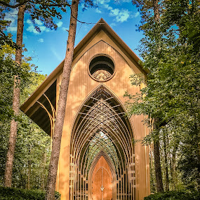 A Sunny Day by Jennifer  Loper  - Buildings & Architecture Places of Worship ( sky, cooper chapel, glass, blue, wood, clouds, chapel, trees )