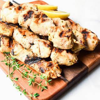 Greek Lemon Chicken Skewers.