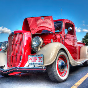 Ford Pickup truck by Rich Reynolds - Transportation Automobiles ( 1935, classic car, red, pickup, truck, ford,  )