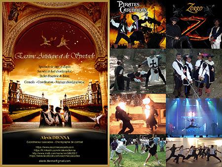 Saynète de duel d'escrime artistique et spectacle de cape et d'épée. Show événementiel et exhibition.