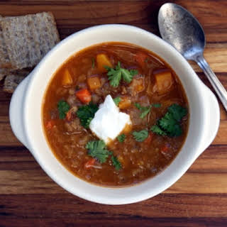 Red Lentil Soup With Butternut Squash.