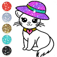Cute Kitty Coloring Book For Kids With Glitter